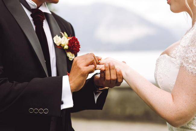 結婚指輪をはめる男女