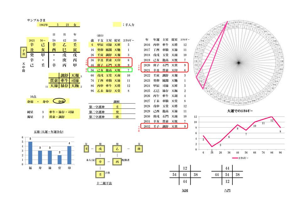 算命学:宿命図・命式図のサンプル